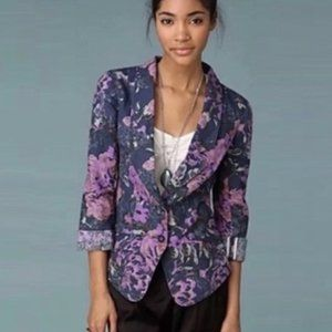 Free People purple and blue floral blazer